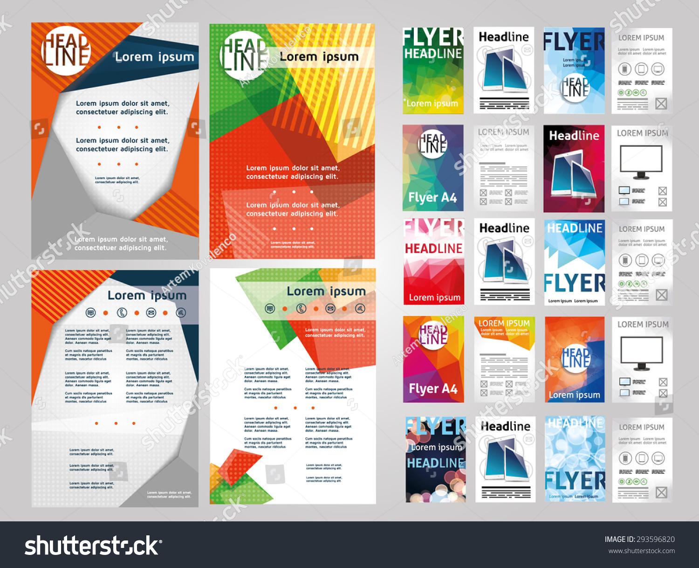 settlement brochure template - vector set of art flyers templates brochures a4 size