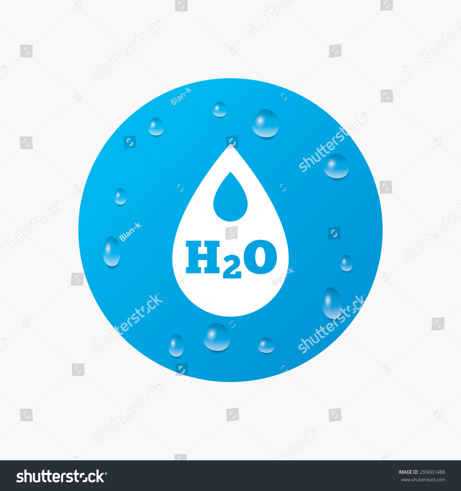 Water Drops On Button H 2 O Water Stock Vector Royalty Free