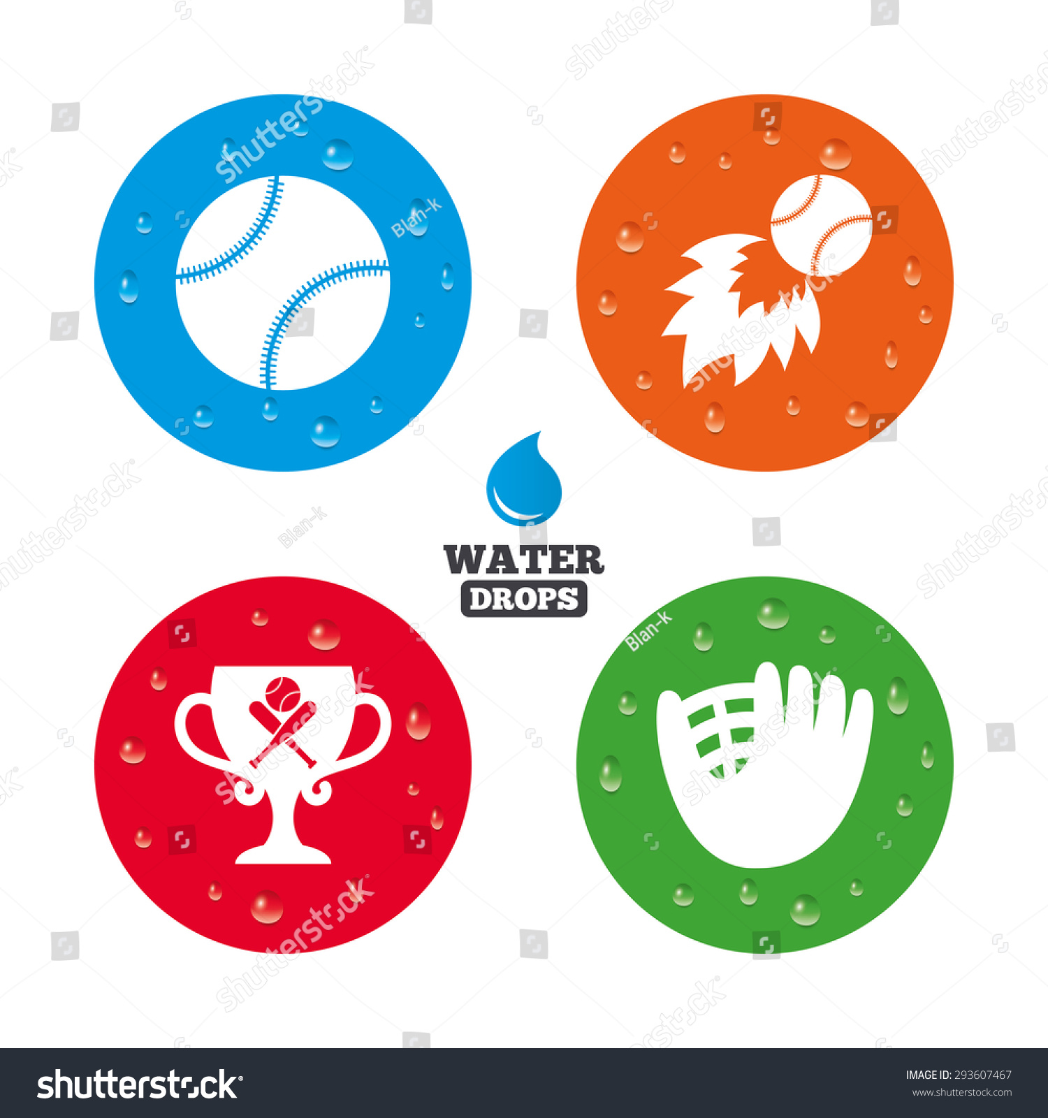 Water drops on button baseball sport stock vector 293607467 water drops on button baseball sport icons ball with glove and two crosswise bats buycottarizona Image collections