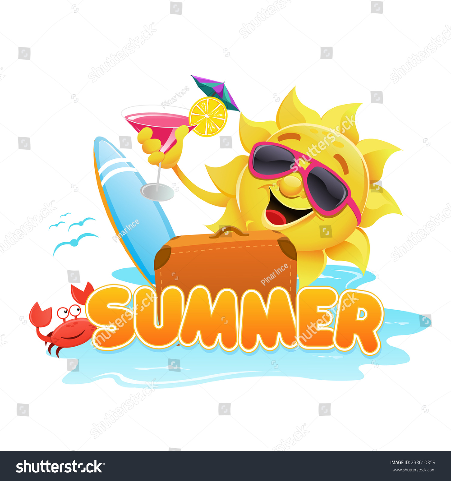 summer theme stock vector illustration 293610359