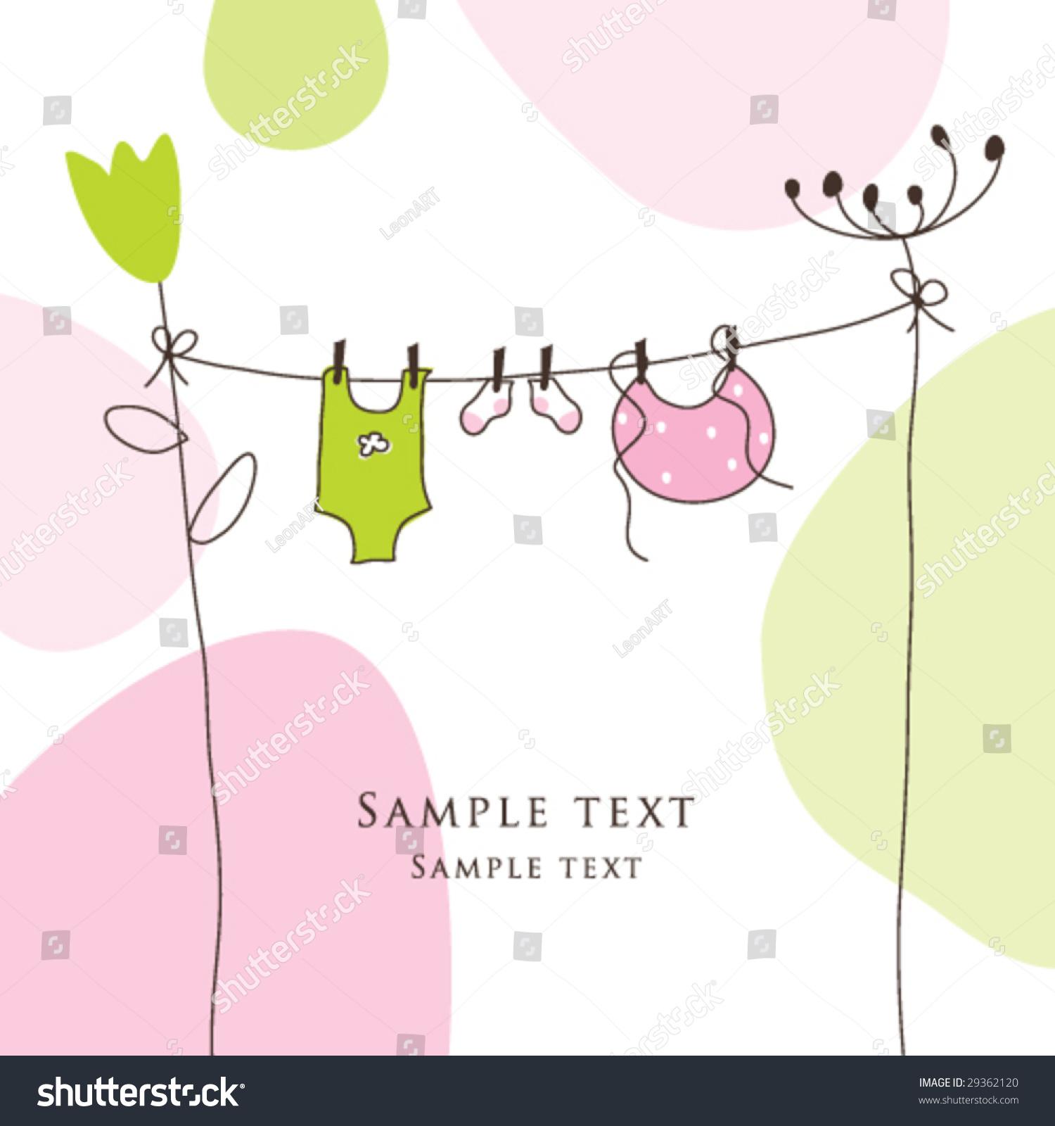 Baby shower card copy space simple unique stock vector for Copy design
