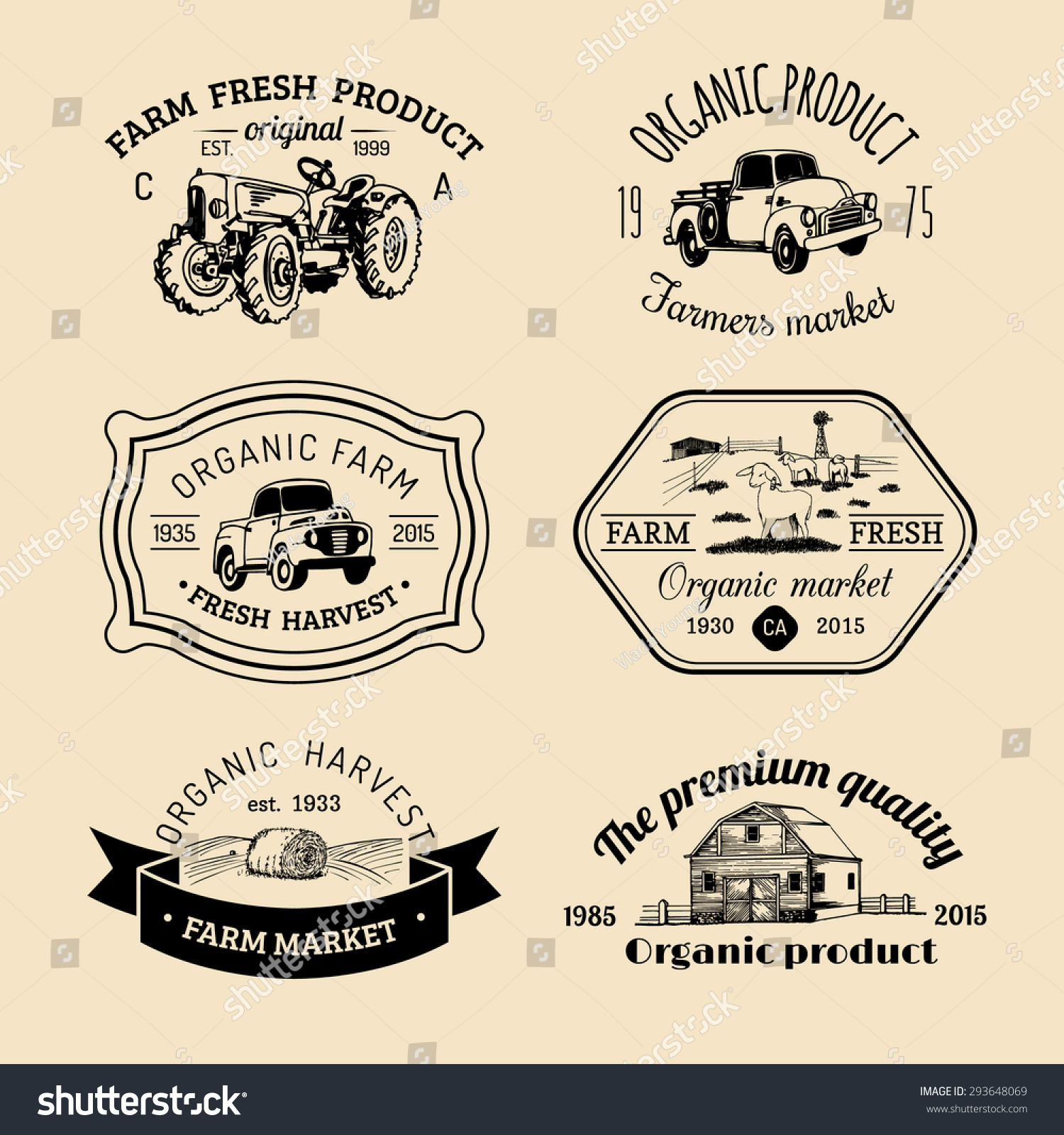7d6afe6c7396 Vector retro set of family farm logotypes. Organic premium quality products  badges collection. Eco