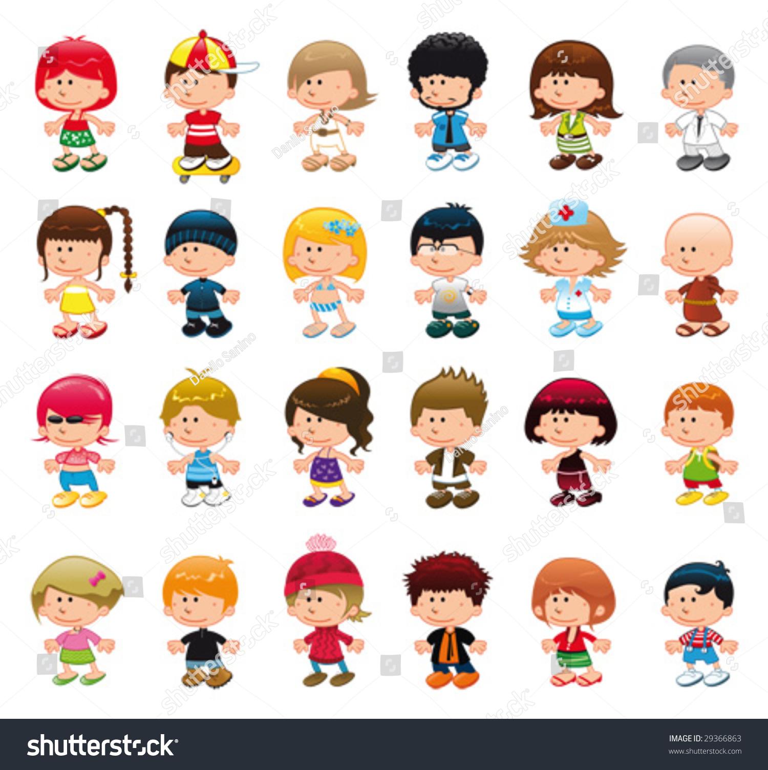 Funny Cartoon Images Of Boys boys girls funny cartoon vector isolated stock vector