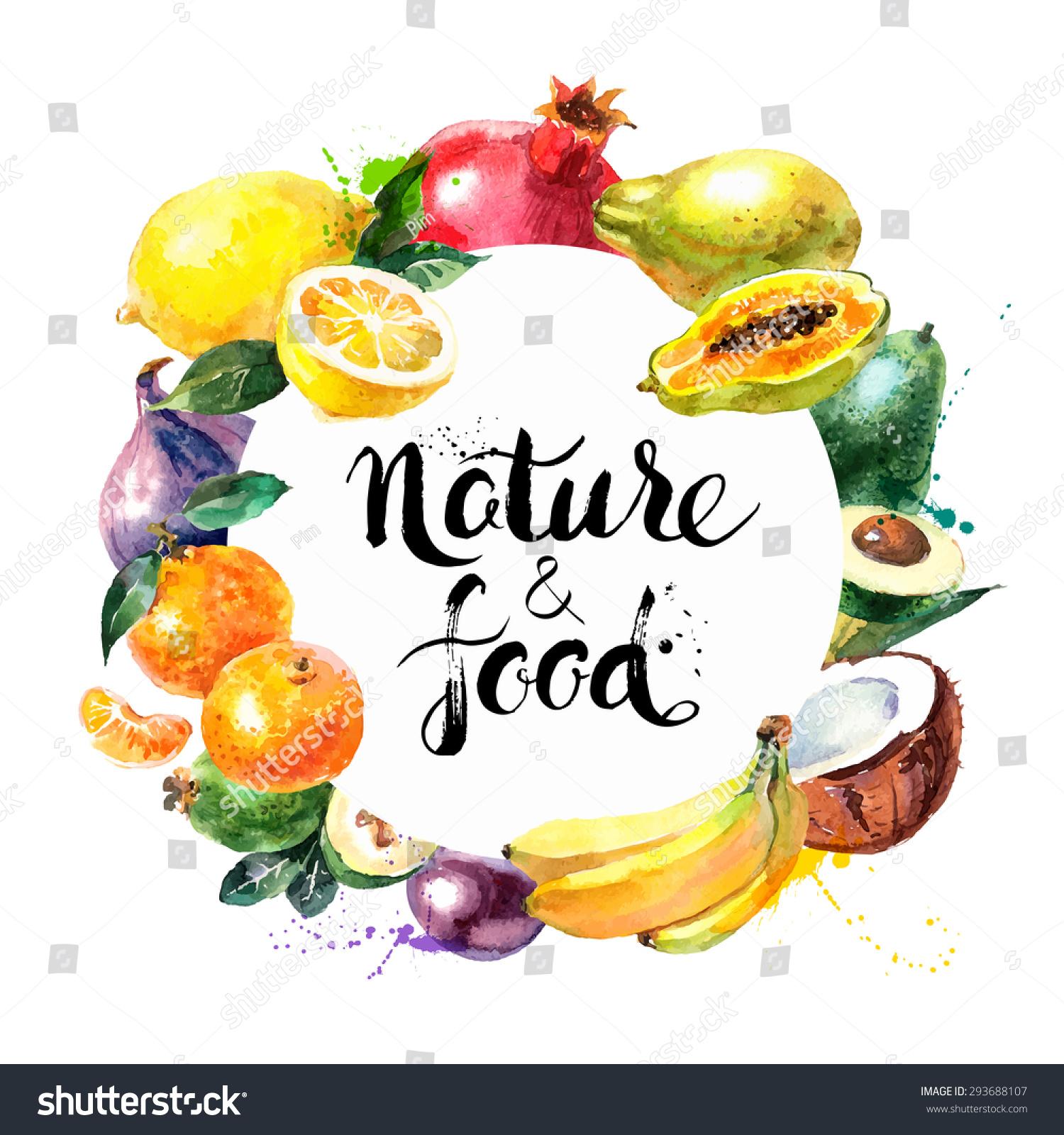 eco food menu background watercolor hand drawn fruits. Black Bedroom Furniture Sets. Home Design Ideas