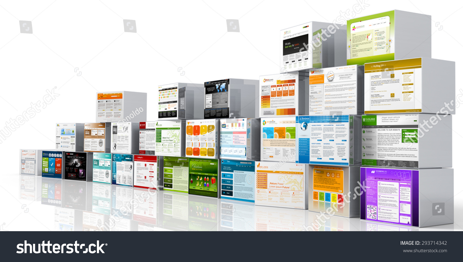 Modern 3 d web design template website stock illustration 293714342 modern 3d web design template website head mapped on aluminum boxes and white background maxwellsz