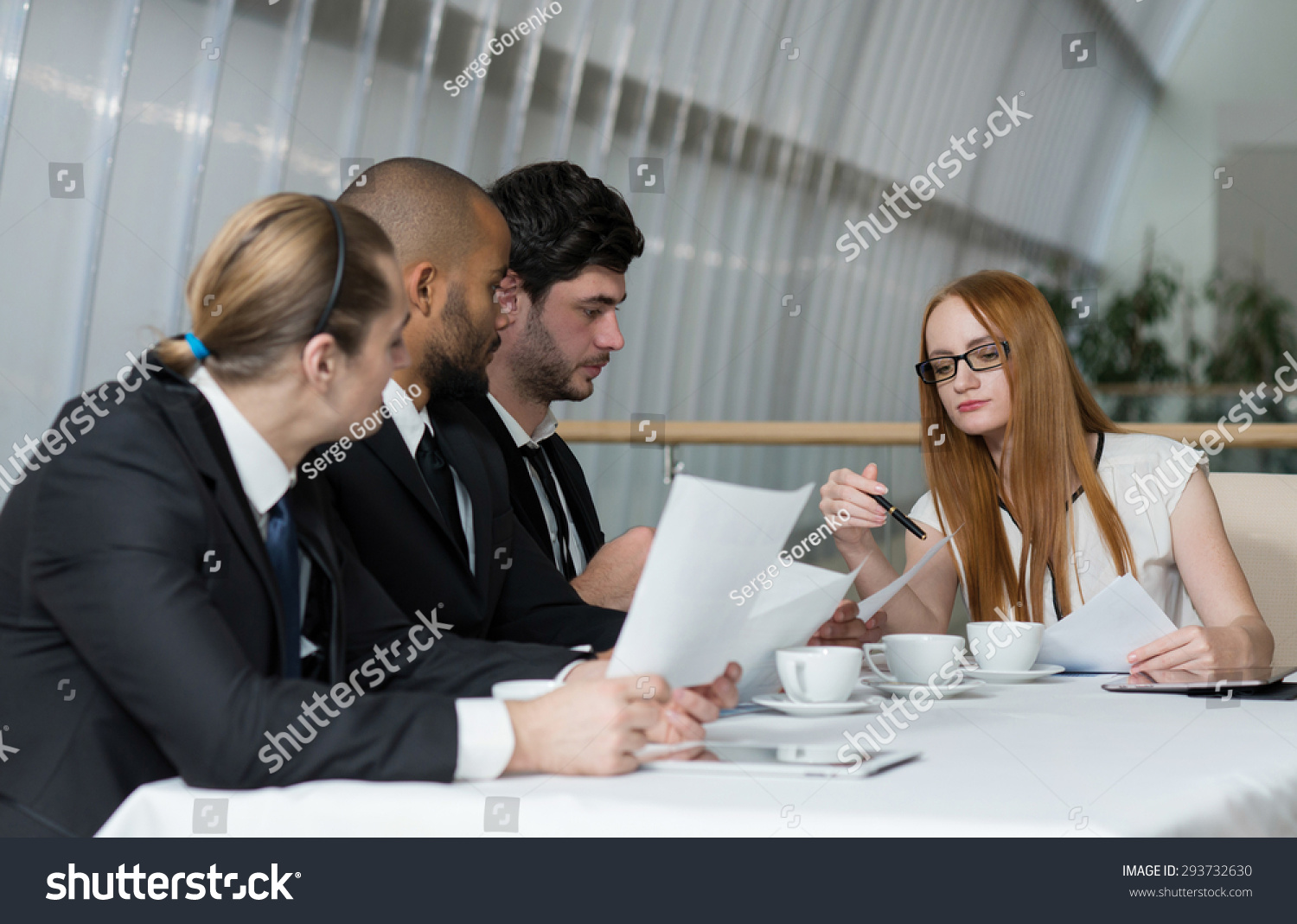 royalty free business meeting with female boss team 293732630