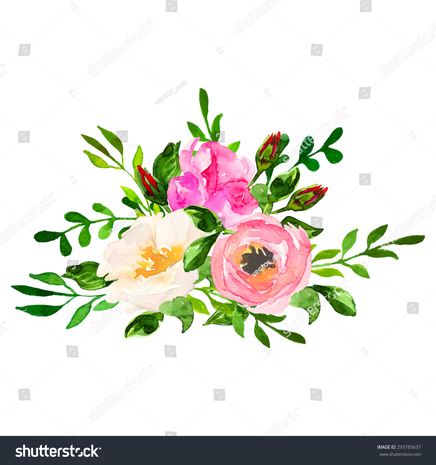 Beautiful Floral Hand Drawn Watercolor Bouquet Bunch Of Flowers Arrangement With Pink Roses