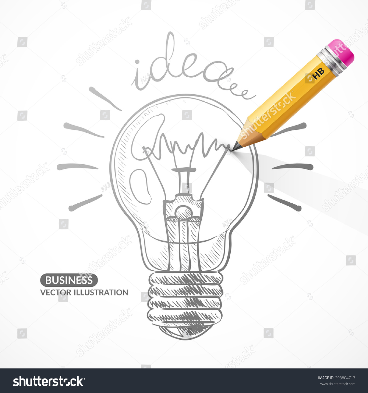 Vector Pencil Painted Light Bulb On Stock Vector Royalty Free