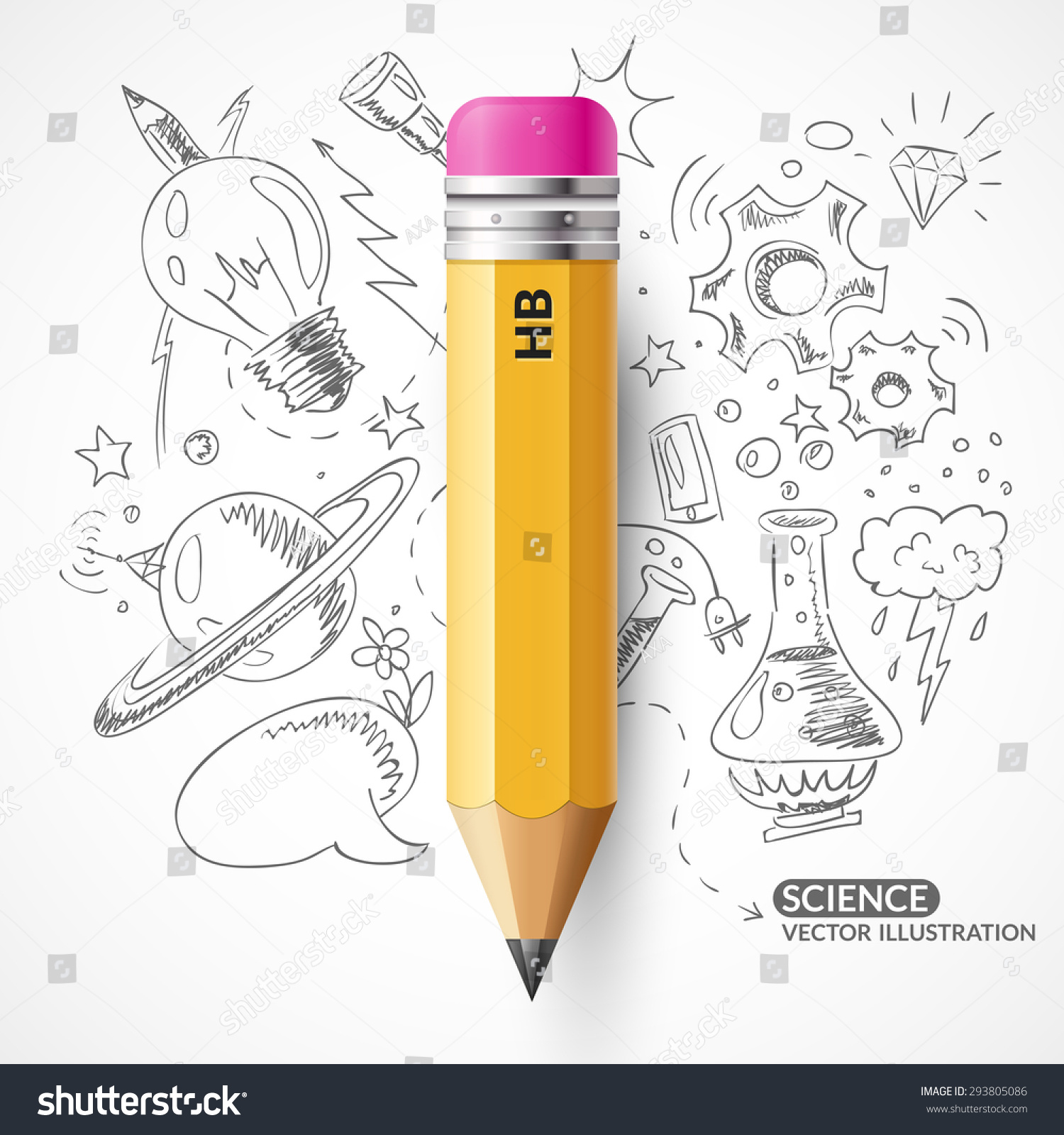 A vector illustration with a simple pencil Yellow pencil on the background of the sketch