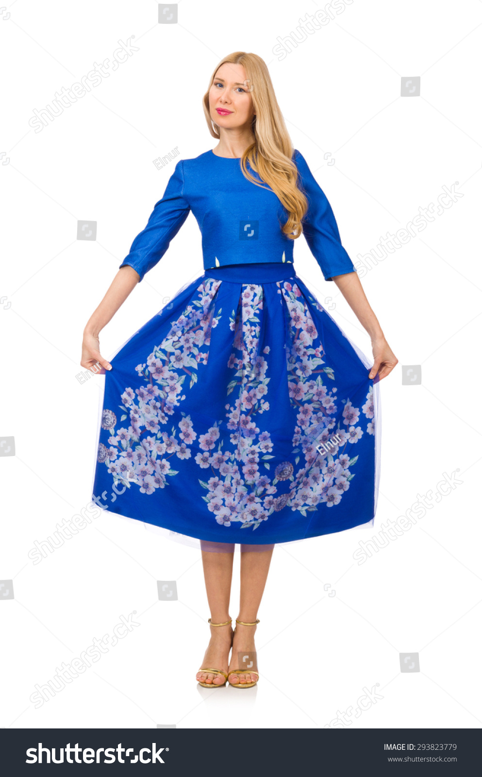 Woman in blue dress with flower prints isolated on white ez canvas id 293823779 izmirmasajfo