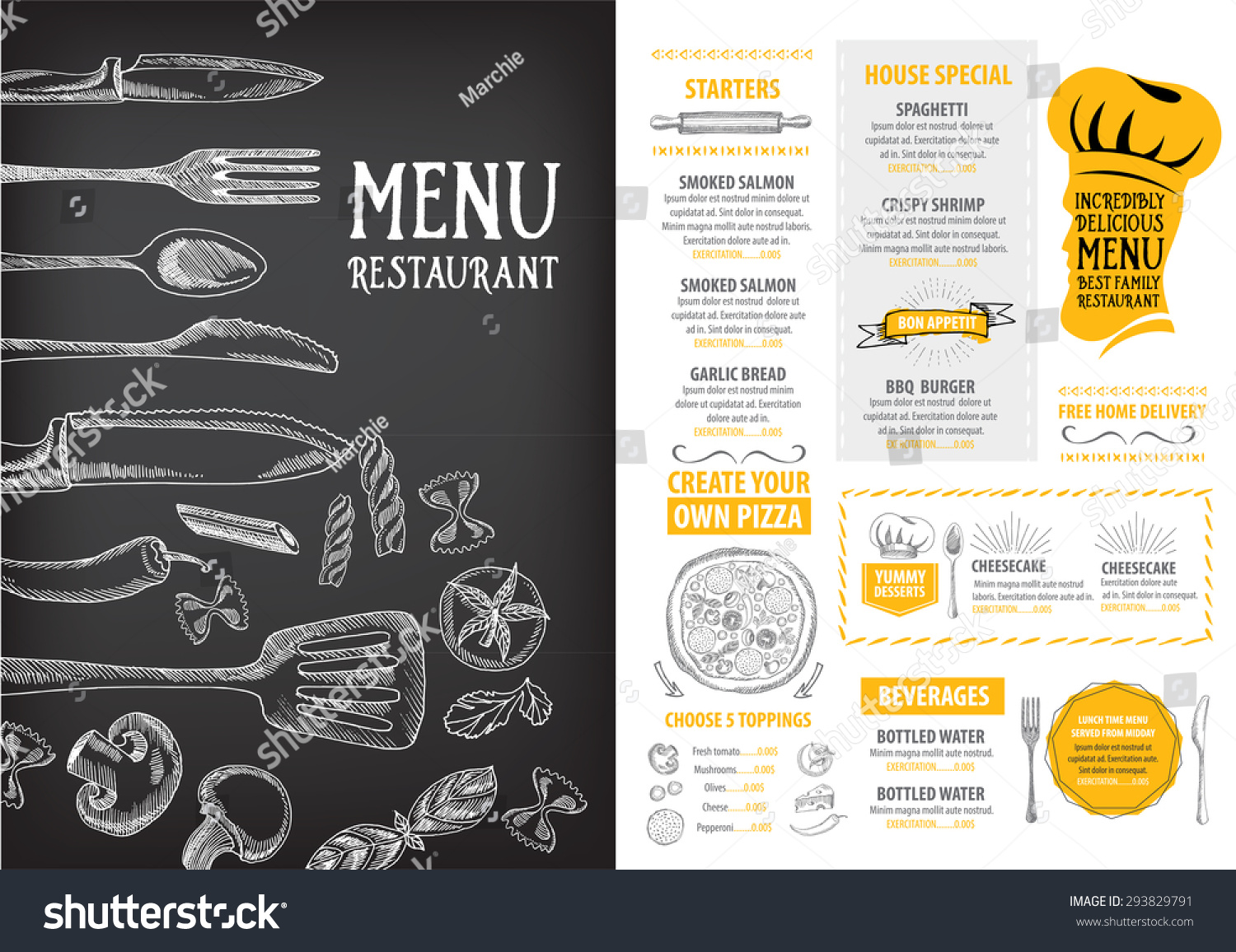 Restaurant Cafe Menu Template Design Food Stock Vector 293829791   Shutterstock