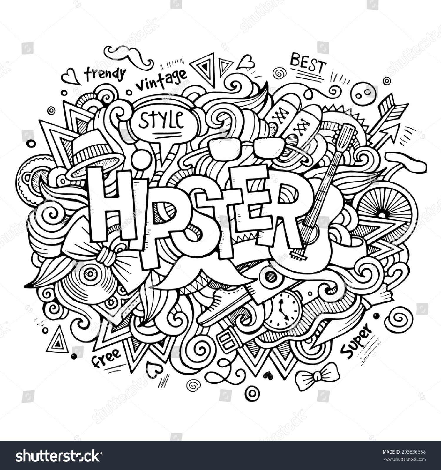 Hipster Hand Lettering Doodles Elements Symbols Stock Vector