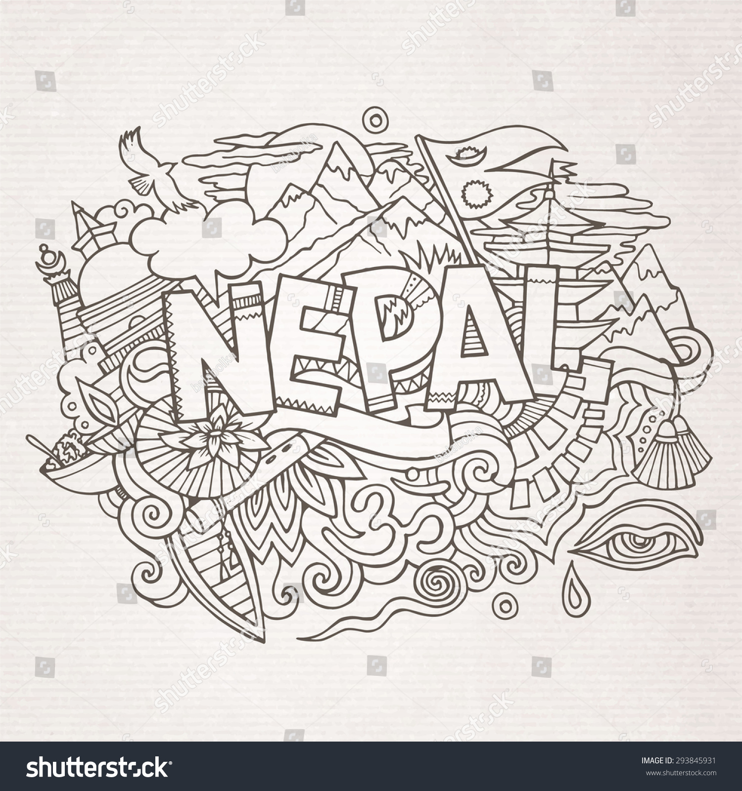 Stock vector music hand lettering and doodles elements - Nepal Country Hand Lettering And Doodles Elements And Symbols Background Vector Hand Drawn Sketchy Illustration