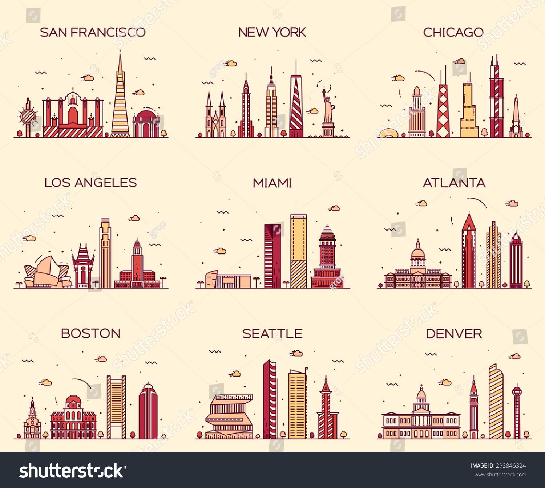 American Cities. San Francisco, New York, Chicago, Los