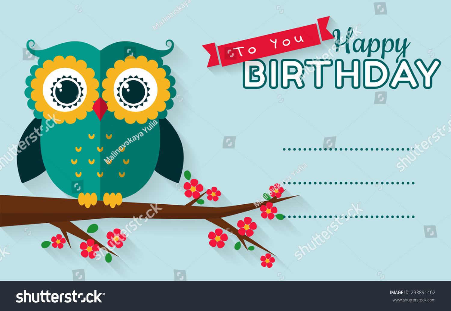 Happy Birthday You Greeting Card Cute Stock Vector 293891402