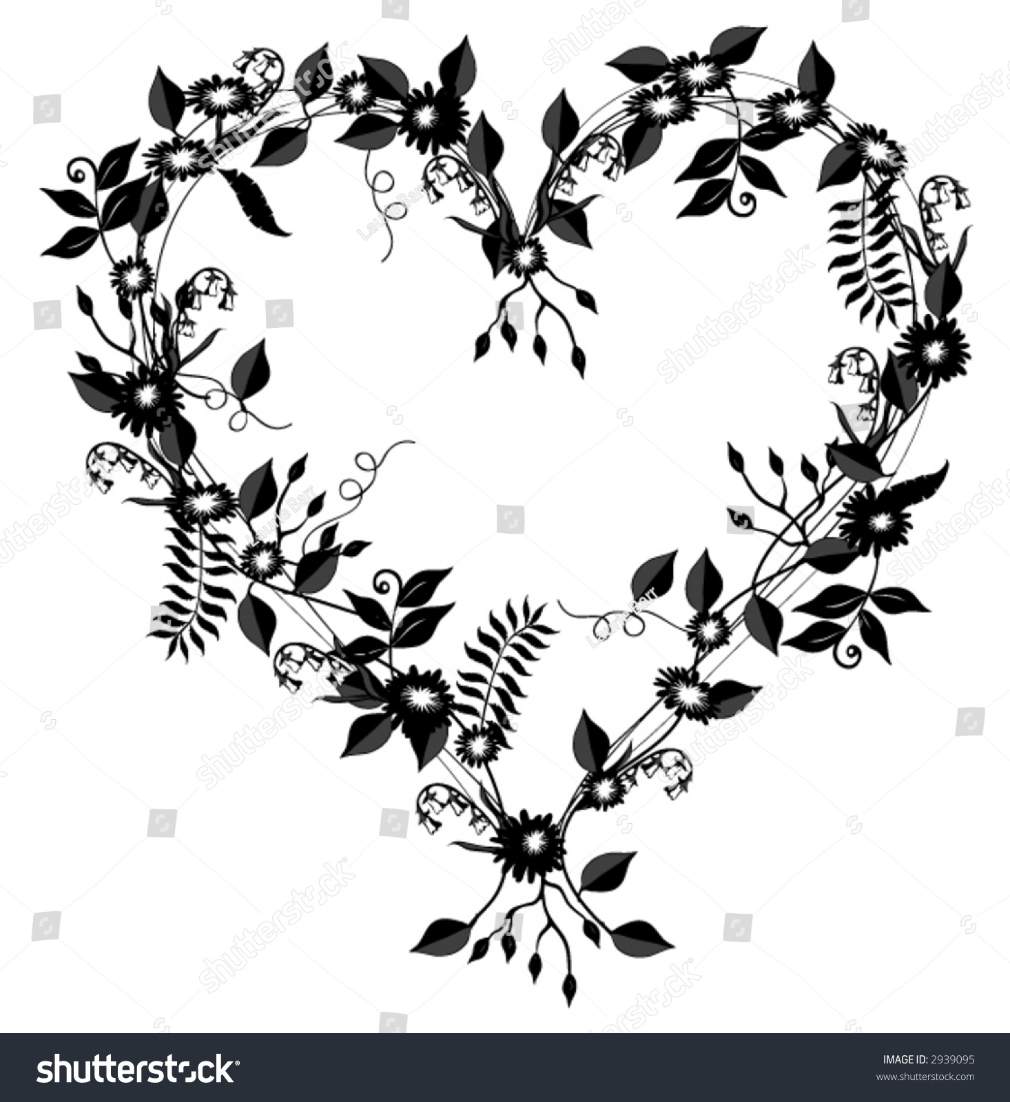 Heart Shaped Vector Flowers Vines Leaves Stock Vector Royalty Free