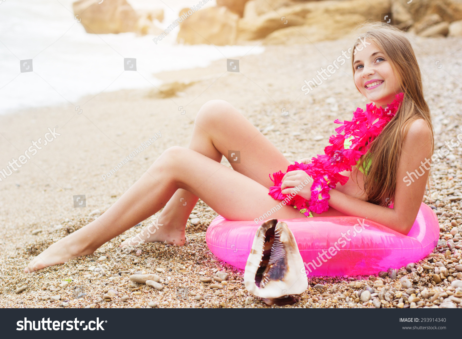 Cute teen girl wearing swimsuit pink stock photo 293914340 Cute teenage girls pics