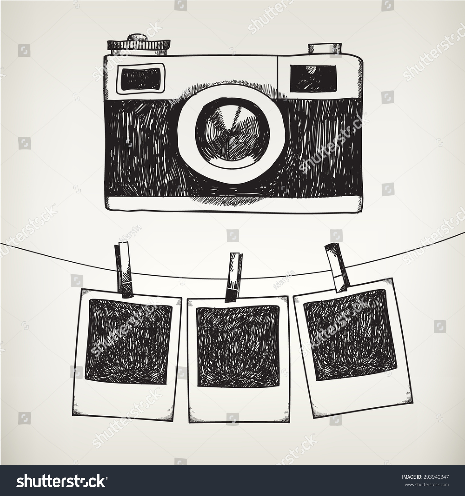 Vector hand drawn doodle illustration of retro photo frames and camera Hanging photos in a photo studio