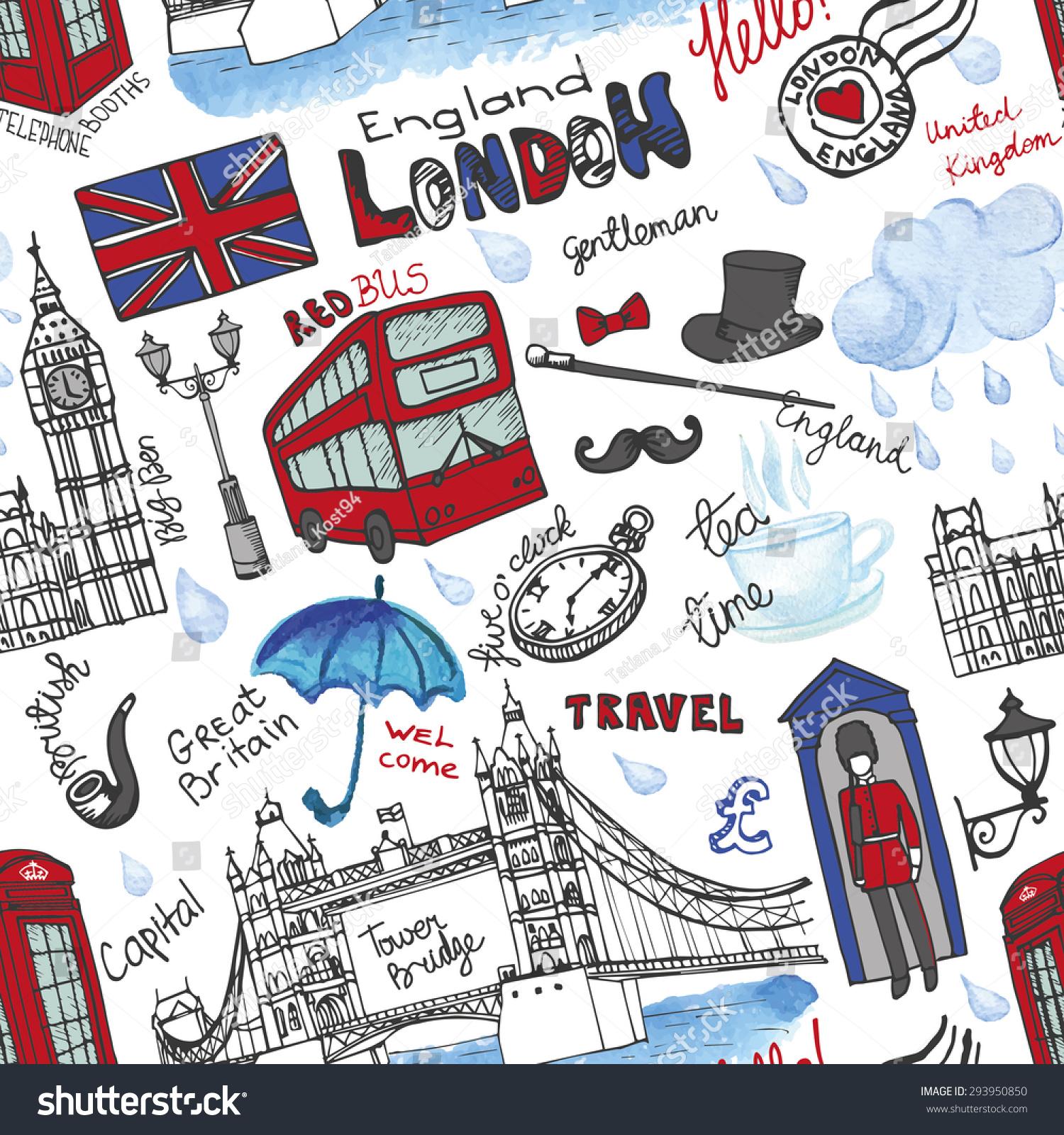 London Landmarksymbols Lettering Seamless Patternhand ...