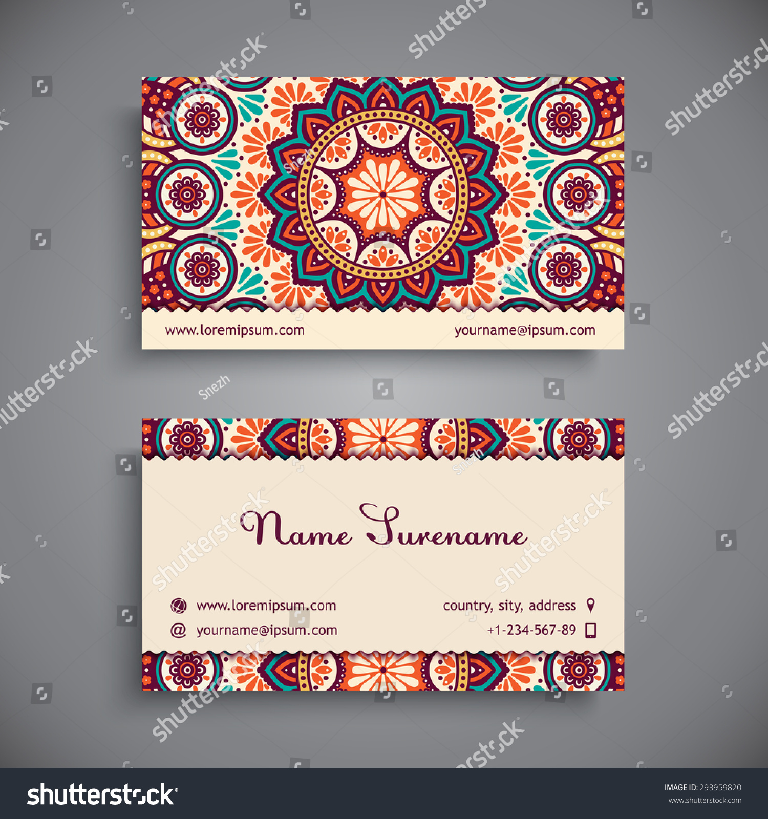 Business Card Vintage Decorative Elements Ornamental Stock Vector ...