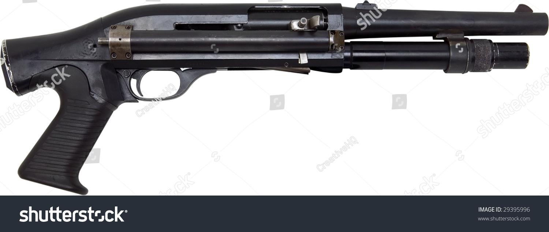 Pistol Grip Shotgun Isolated On White Stock Photo (Edit Now) 29395996