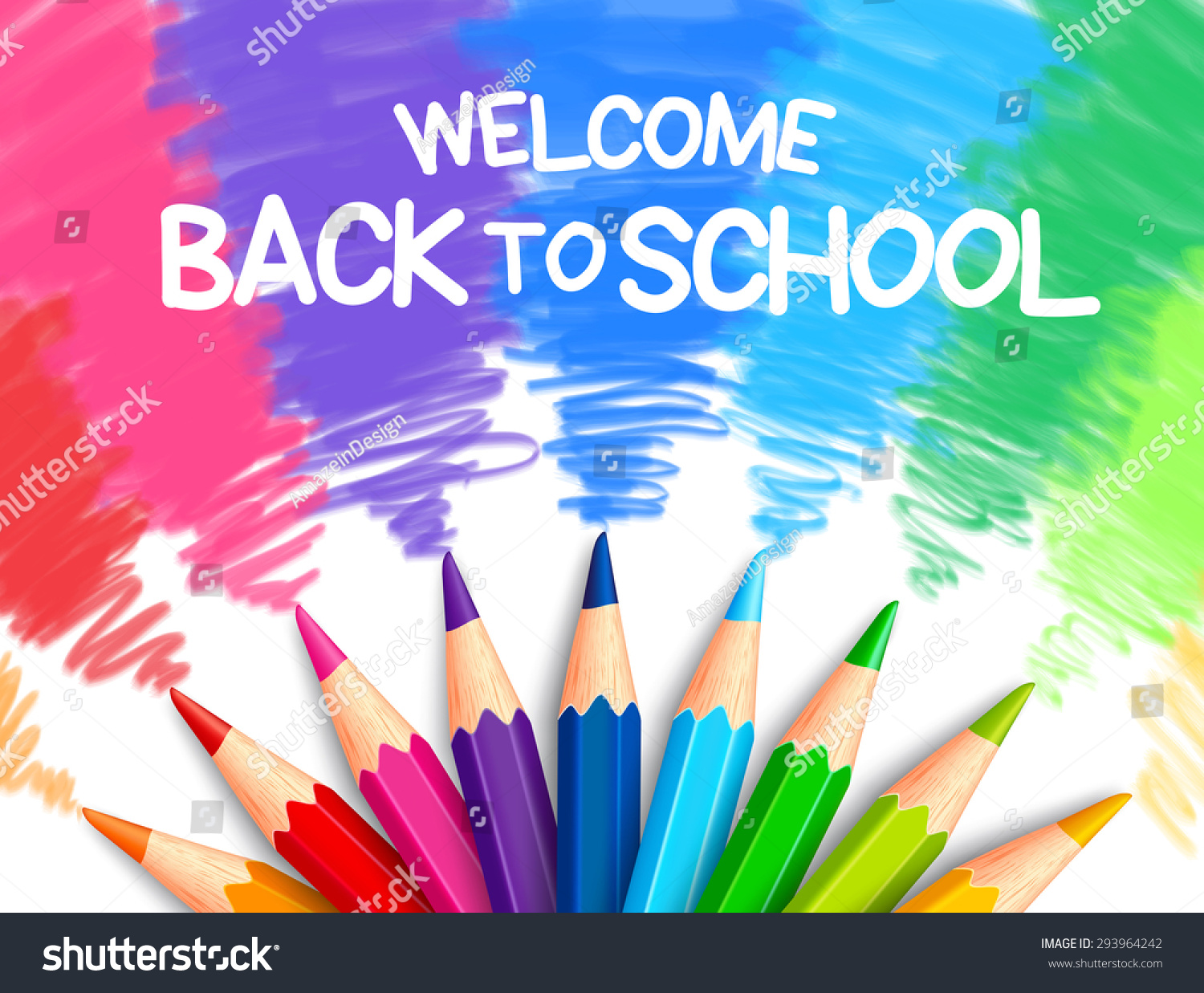 Realistic Set of Colorful Colored Pencils or Crayons with Multicolored Brush Strokes Background in Back to School Title Vector Illustration