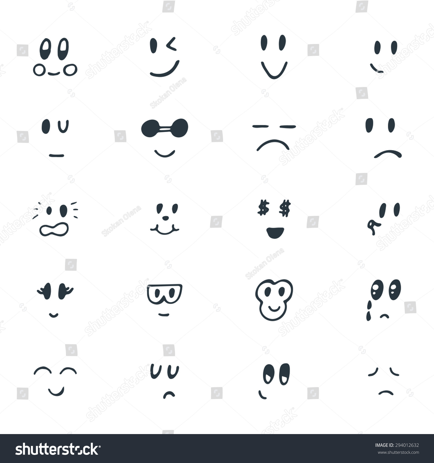 Set Hand Drawn Funny Smiley Faces Stock Vector 294012632 Shutterstock