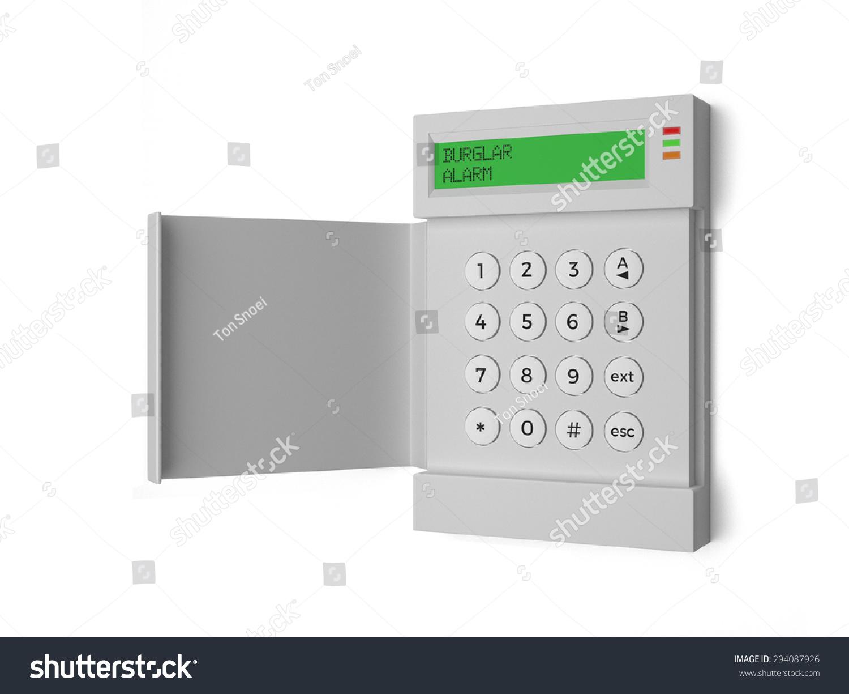 Burglar Alarm Key Pad Isolated On Stock Illustration 294087926 A With White Background 3d