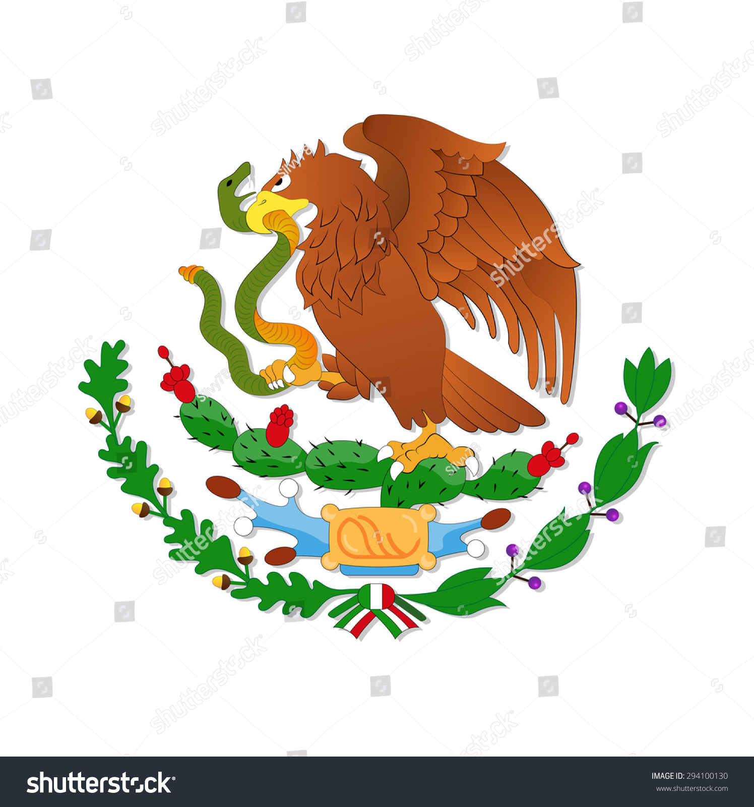 eagle symbol mexican flag stock vector 294100130