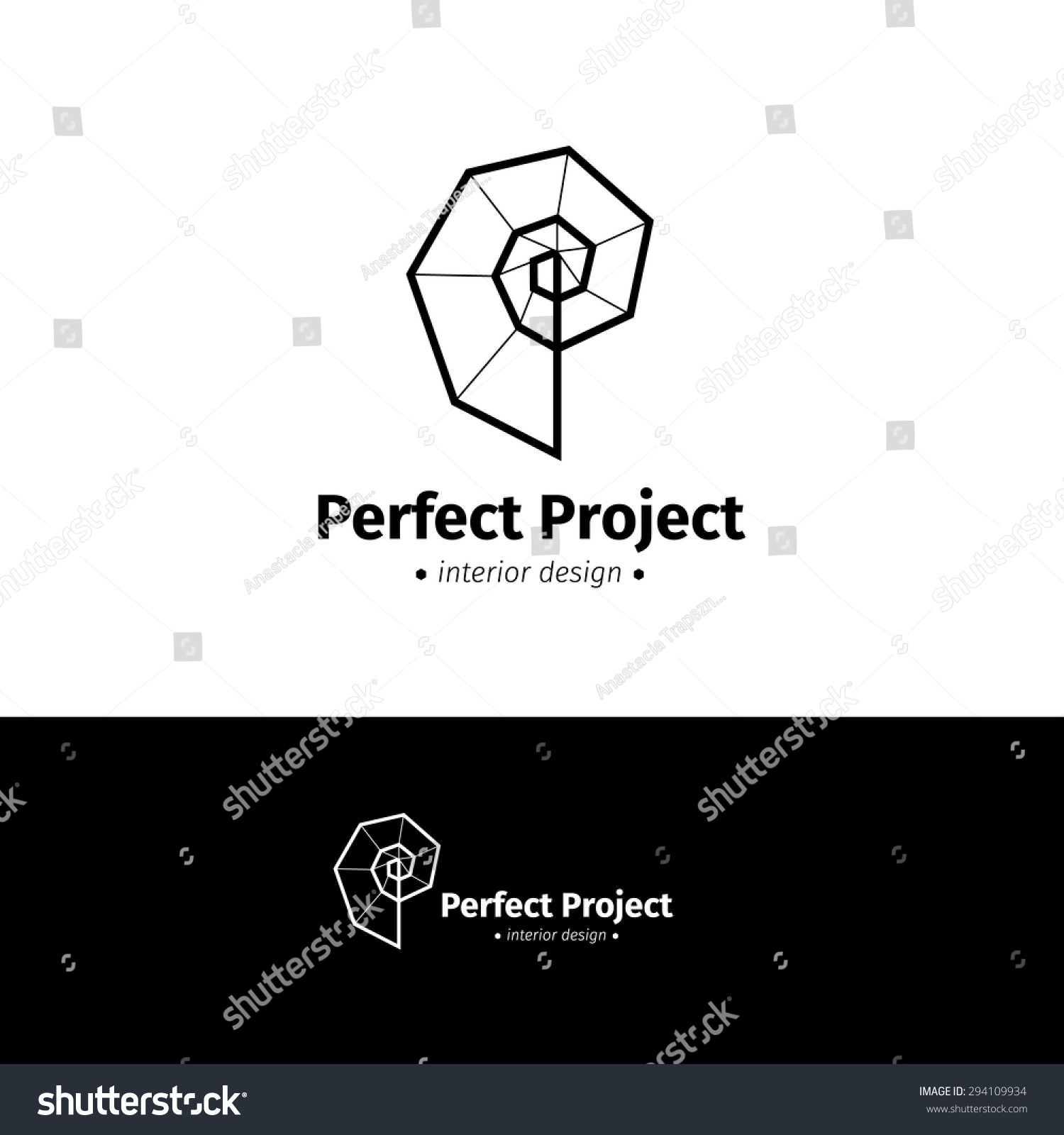 Vector Modern Minimalistic Interior Design Logo Black And White Creative Spiral Logotype