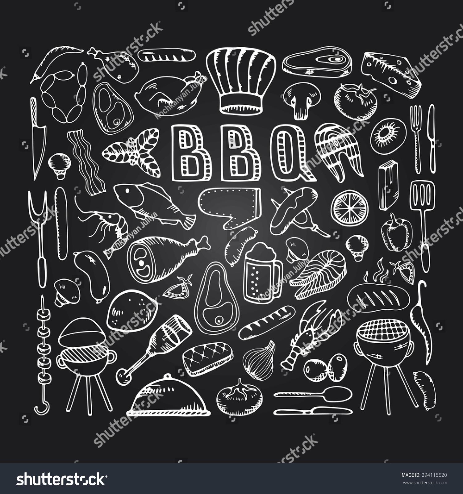Barbecue Grill Partycook Idea Food Design Stock Vector Royalty Free 294115520