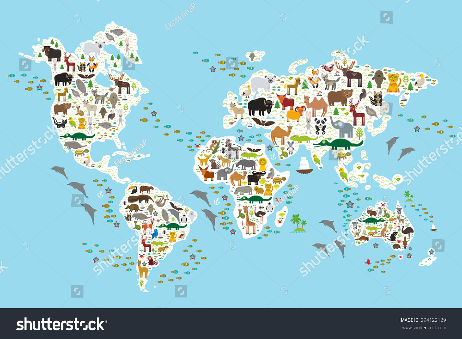 Cartoon Animal World Map For Children And Kids, Animals From All Over The  World,