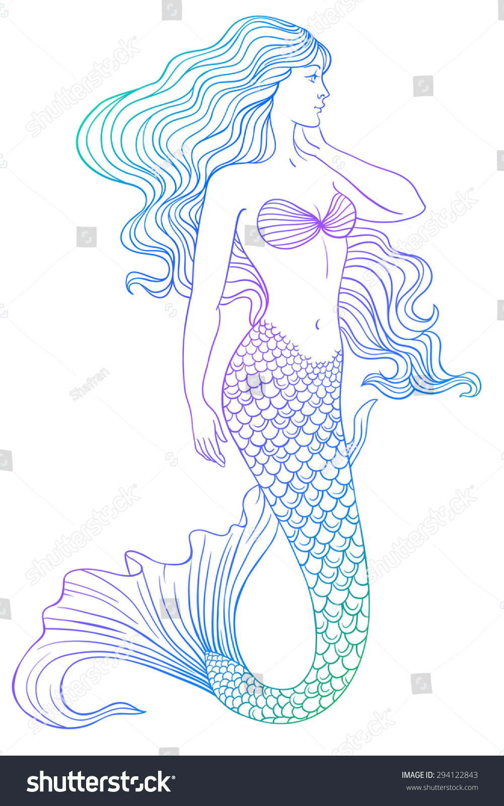 Image Gallery Mermaid Outline