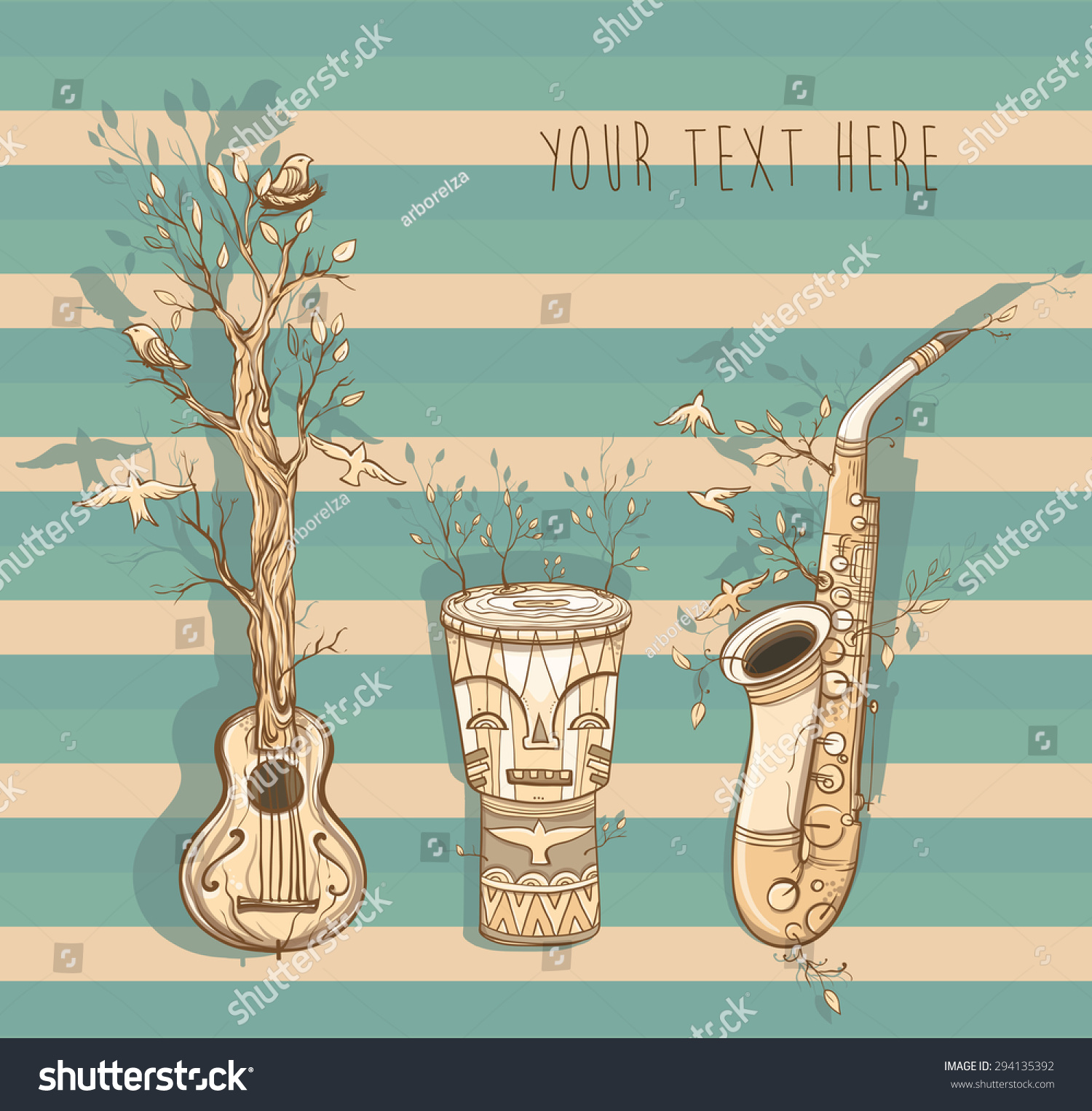 Poster design nature - Vector Illustration With Guitar Saxophone Djembe Drum Template For Card Or Poster Design