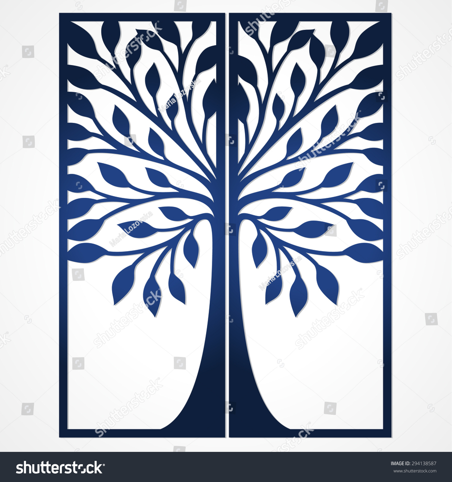 Abstract Frame Tree Suitable Laser Cutting Stock Vector
