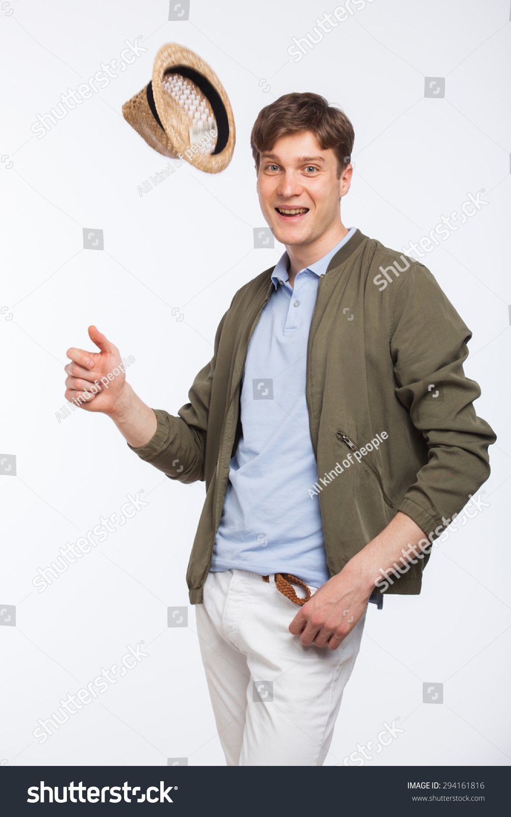 9f7ecc7c76e Handsome Young Man Modern Dressed Throwing Stock Photo (Edit Now ...