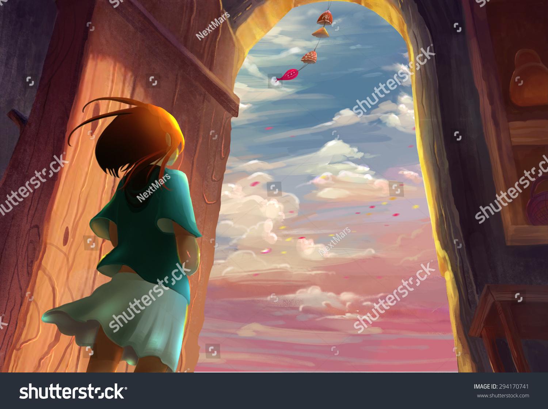 Illustration Illustration Girl Lived By Sea Stock Illustration