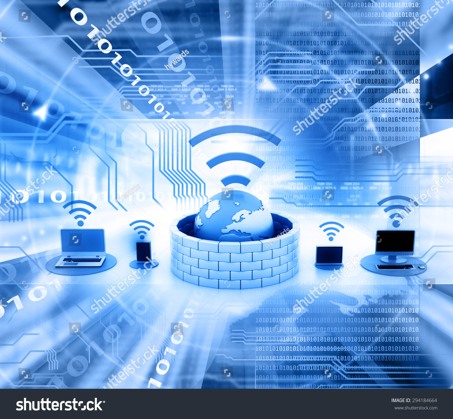 Secure Wireless Network Devices Stock Photo 294184664