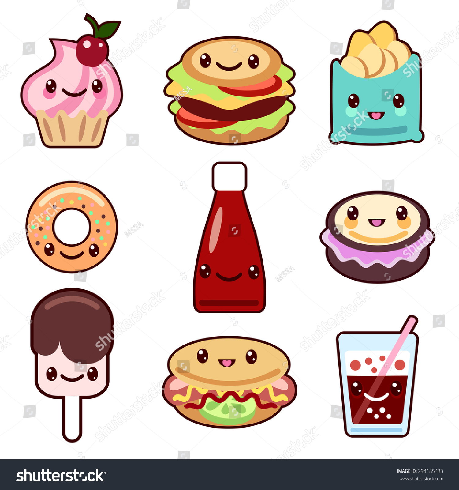 Vector set of fast food and fruit Kawaii characters Vista previa