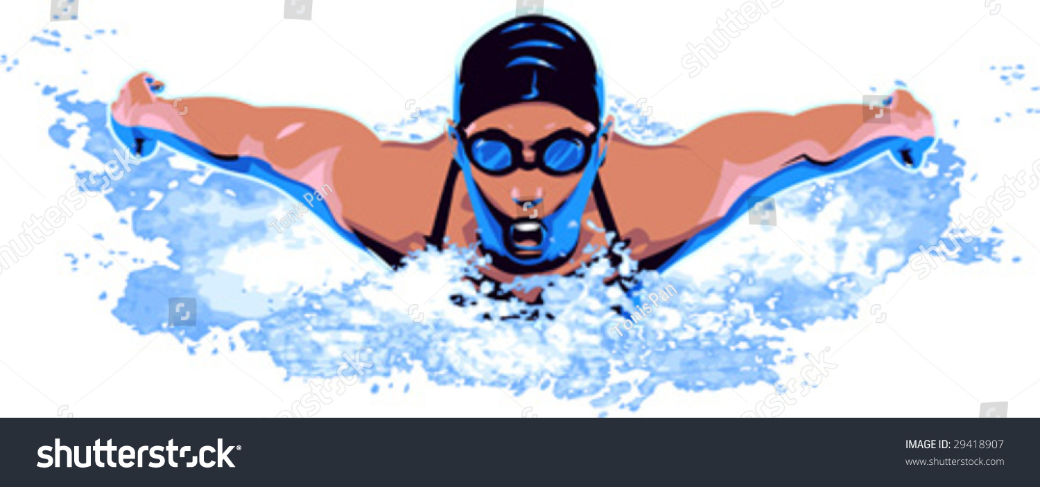 vector clip art illustration woman swimmer stock vector 2018 rh shutterstock com Girl Swimmer Clip Art Cartoon Swimmer Clip Art