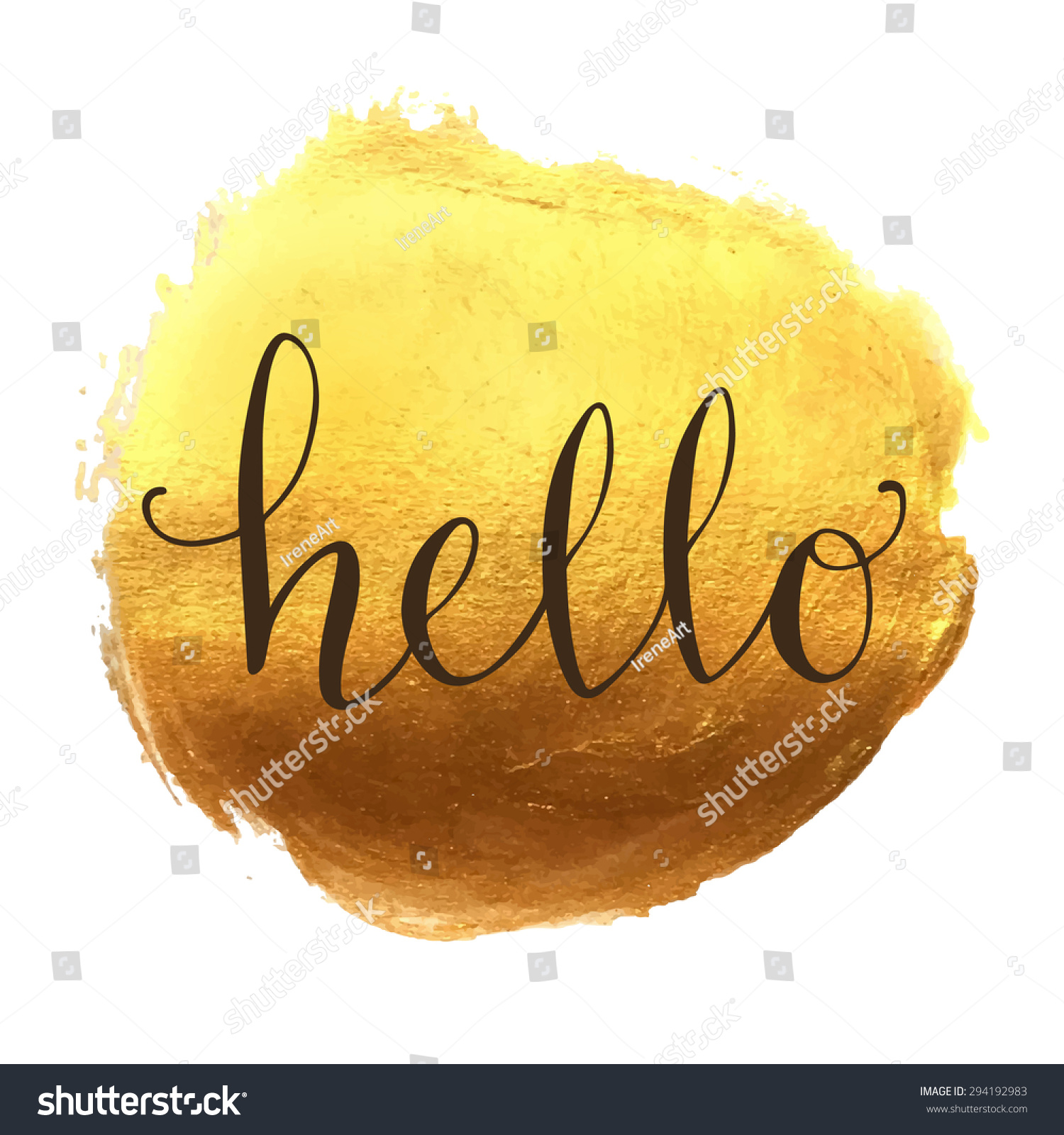 Hello hand lettering on splash hand drawn abstract colorful golden ...