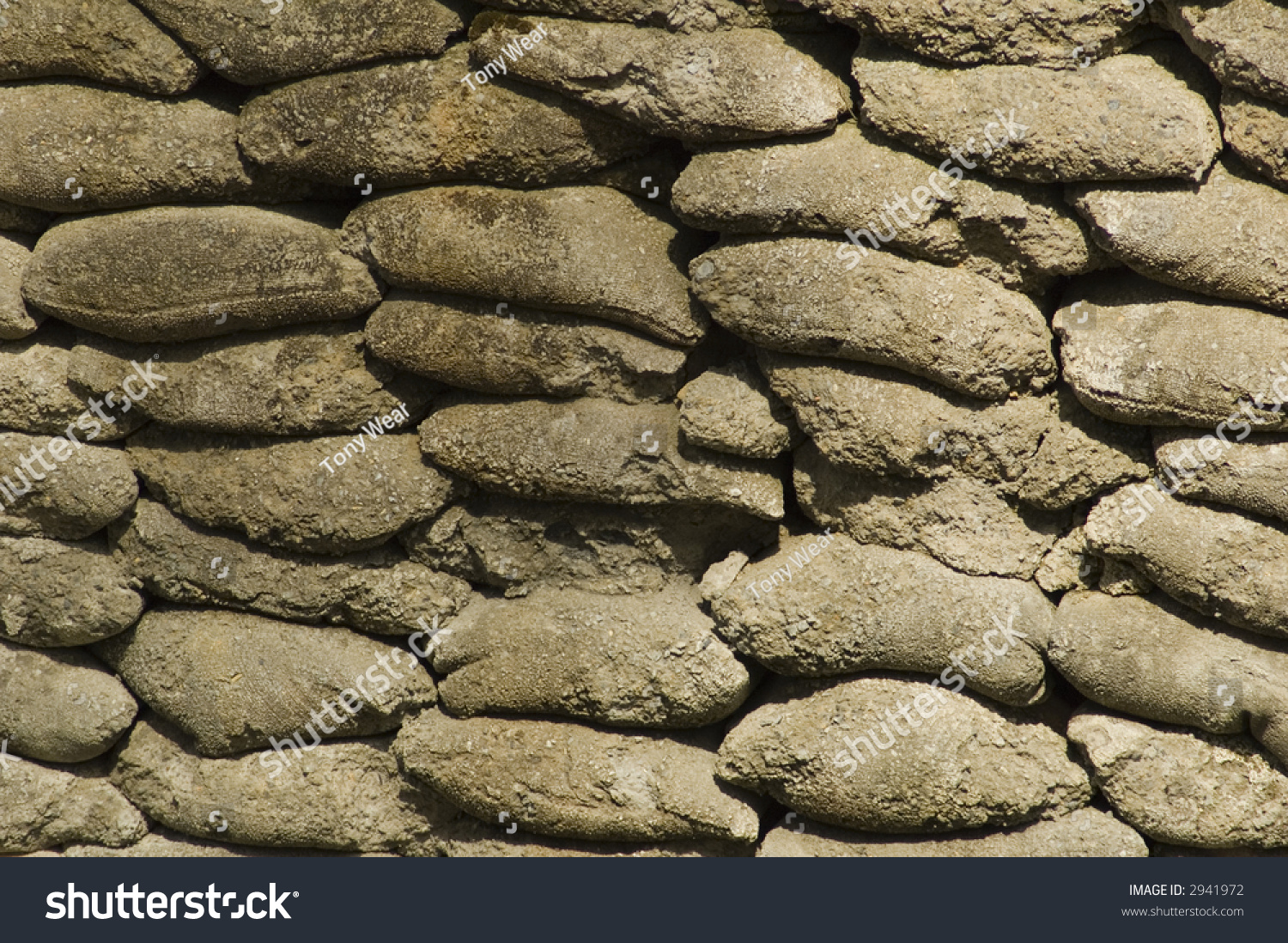 Retaining Wall Made By Stacking Concrete Stock Photo