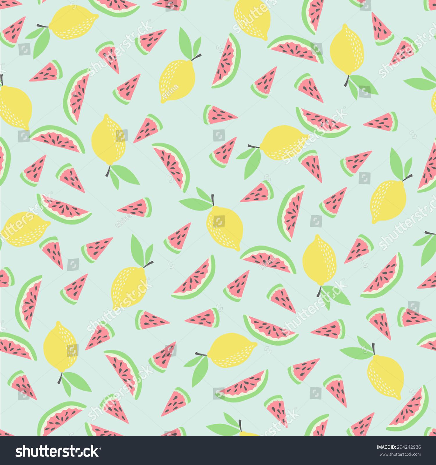 Fresh Ice Cream Stick In Summer Wallpaper Vector: Cute Funny Seamless Pattern Summer Fruit Stock Vector