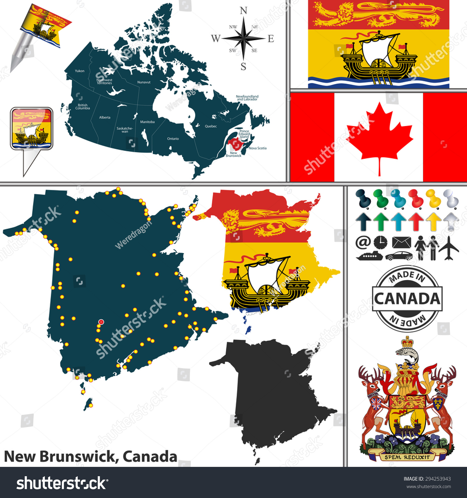 vector map state new brunswick coat stock vector 294253943