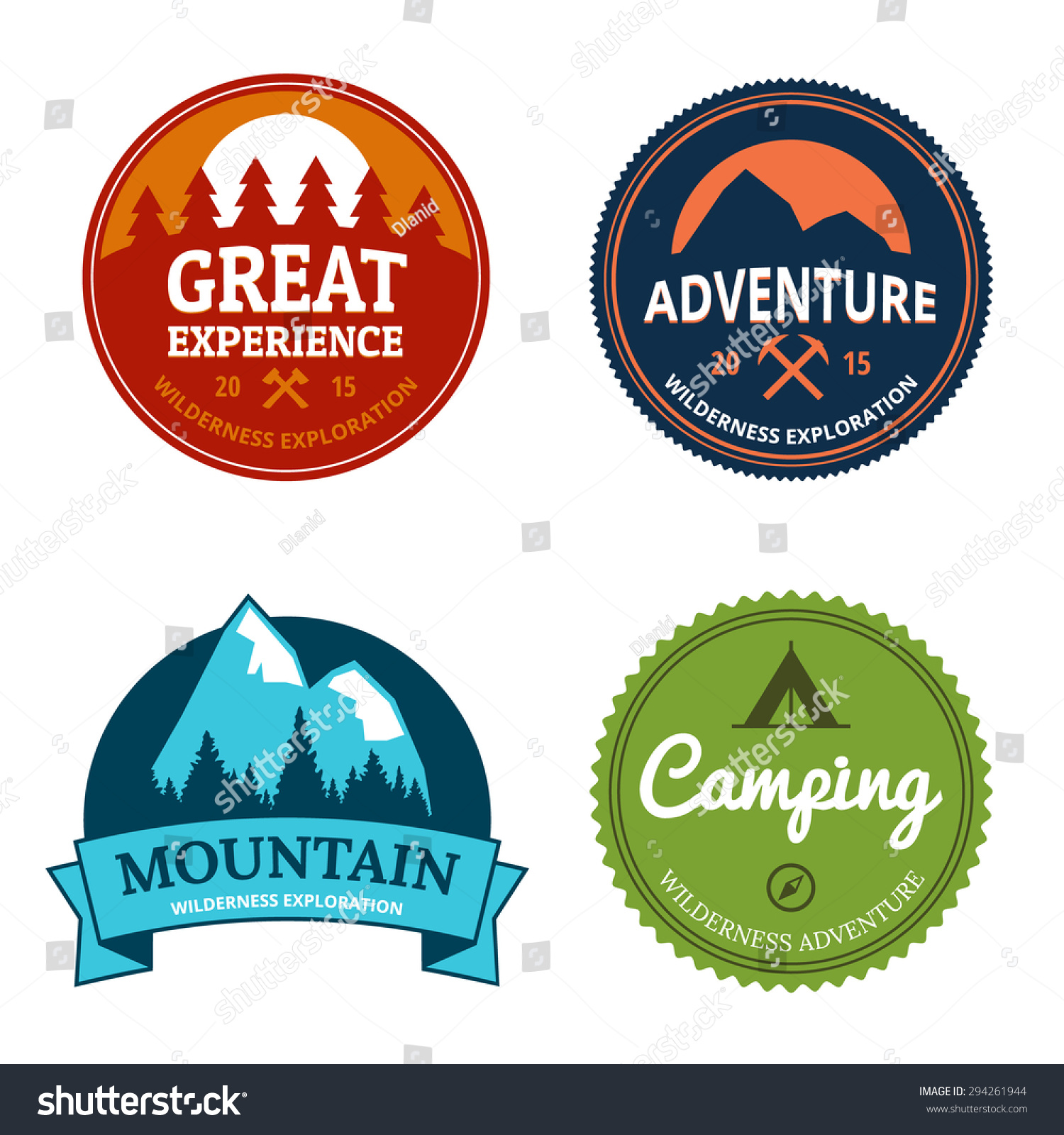 stock illustration forest national park logo outdoor activity camping nature exploration symbol vect