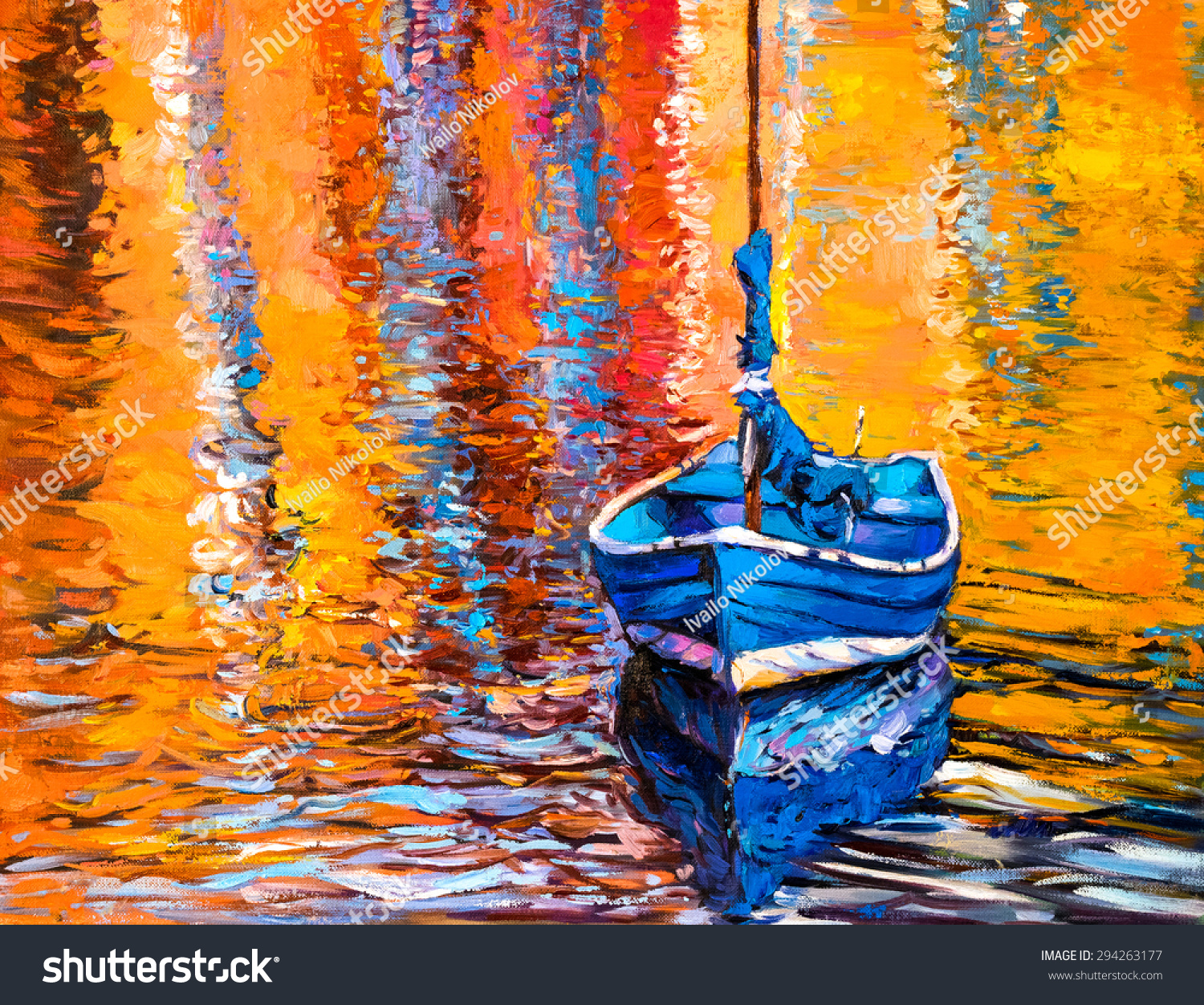 Oil painting on canvas blue boat modern impressionism by for What is canvas painting