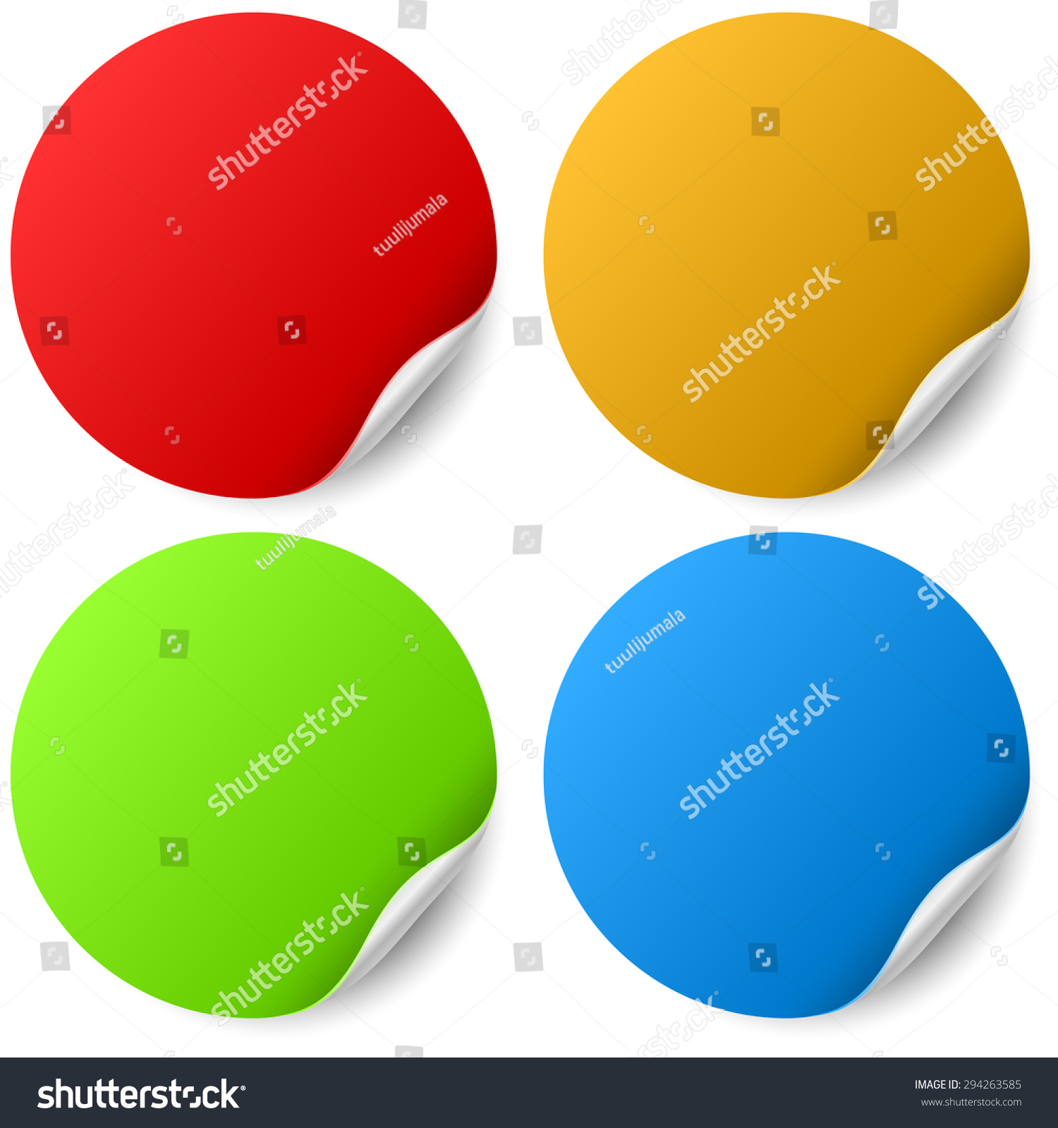 color round stickers curled edge vector stock vector royalty free