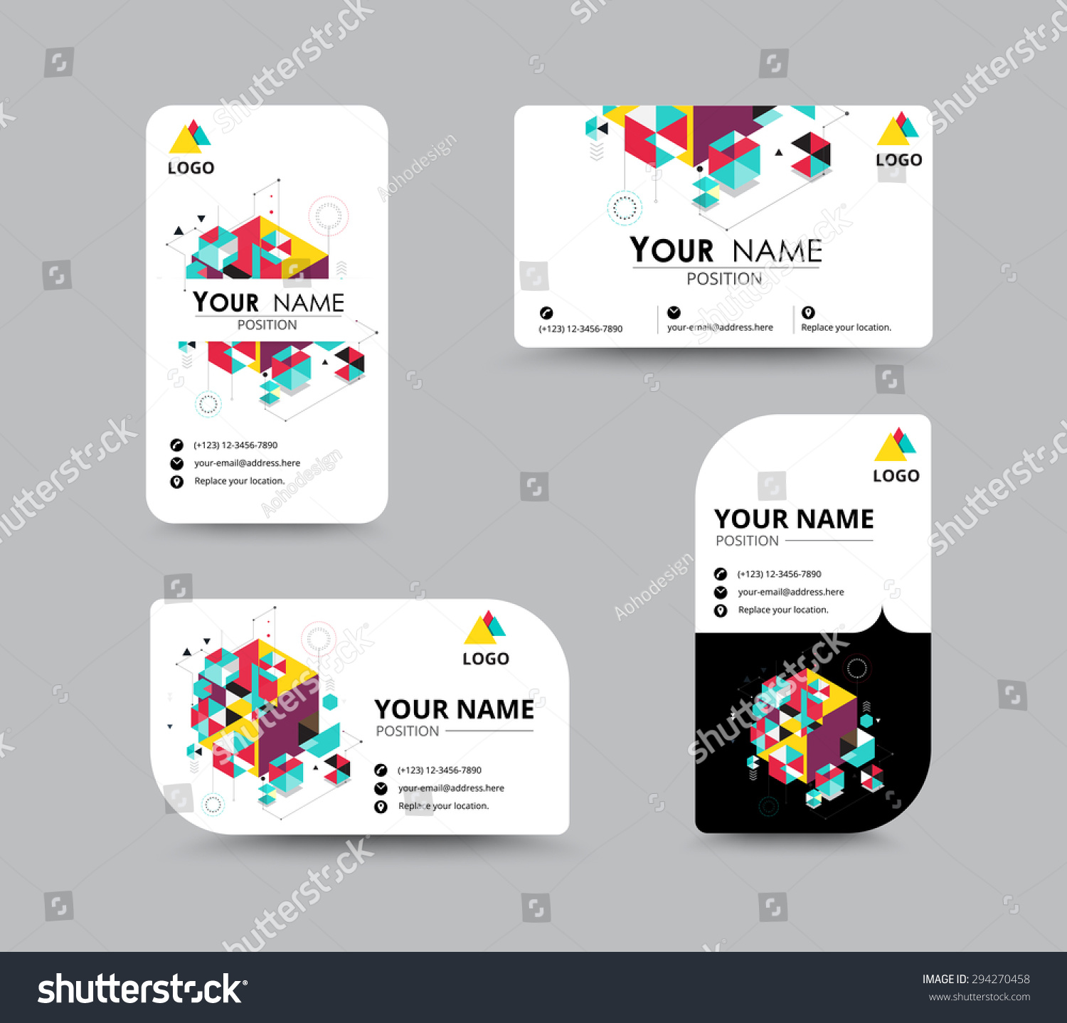 isometric business greeting card template design stock vector