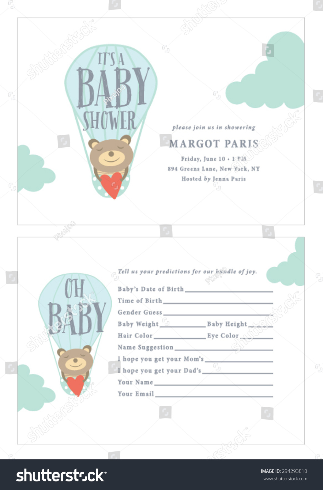 Baby Shower Invitation Baby Prediction Card Stock Vector