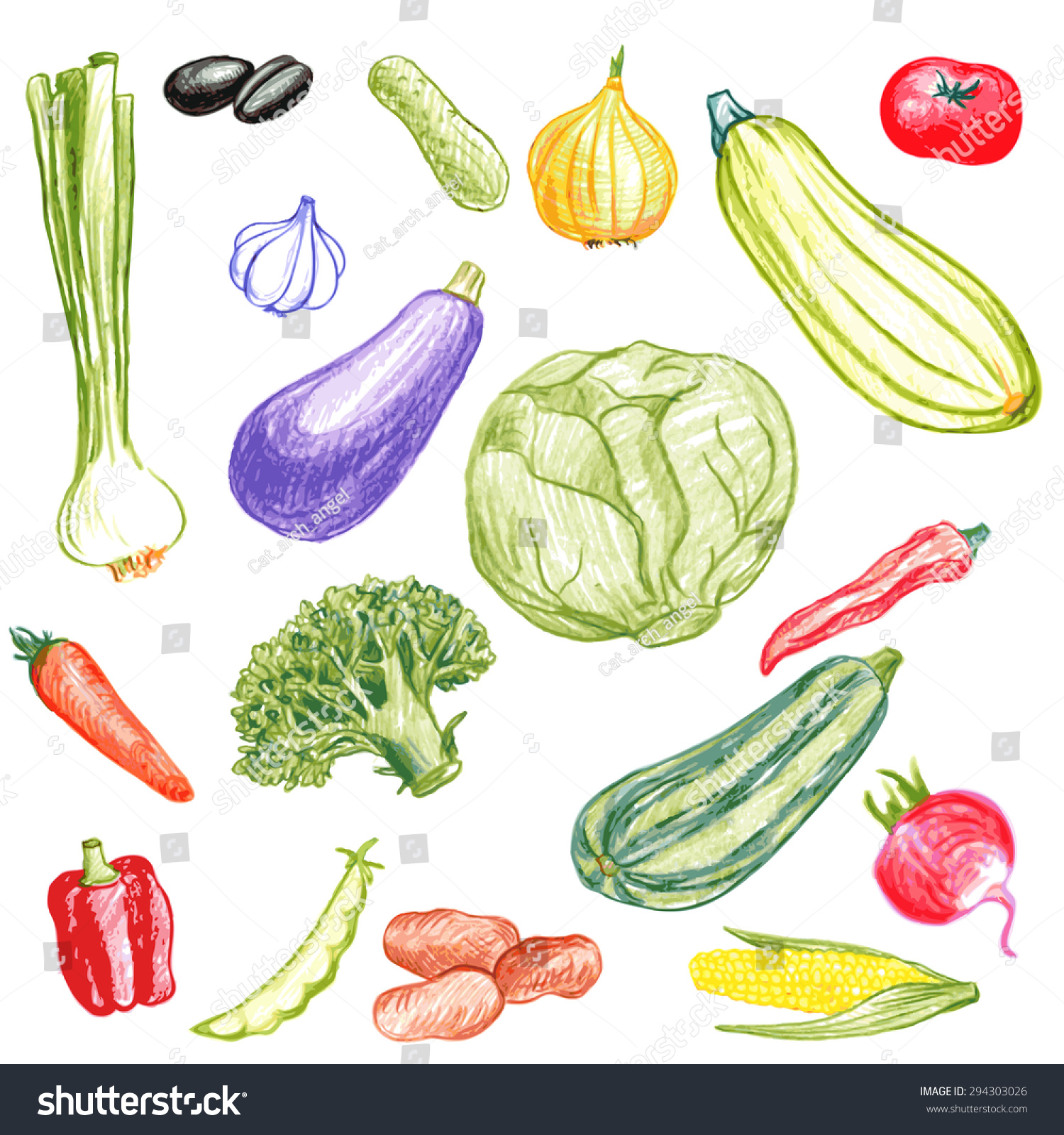 vector set food drawing by color stock vector 294303026 shutterstock